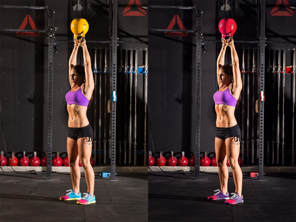 Before & After photo of Emma performing a kettlebell swing. Photography and retouching by Isaac Insoll.