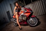 Fee Fee Fashion Model on Motorbike